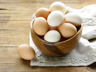 natural organic eggs in a wooden bowl