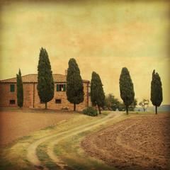 Grunge image of farmhouse in Tuscany.