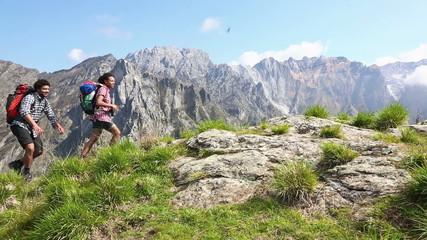 Multiracial Group Hiking