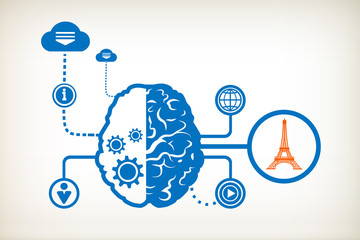 Eiffel tower and abstract human brain