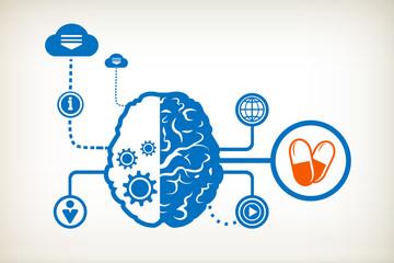 Pills health and abstract human brain