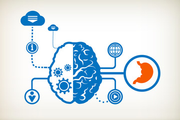 Human stomach symbol and abstract human brain