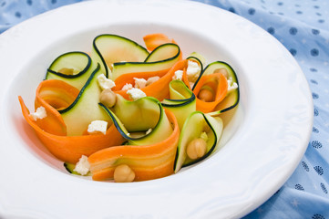 Zucchini salad with carrots, chickpeas and feta cheese