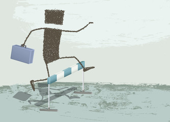 Jumping Obstacles. A businessman jumping a hurdle