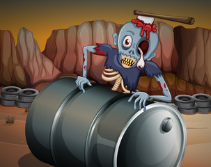 A zombie above the barrel