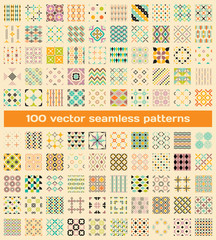 100 tiled different vintage vector seamless patterns