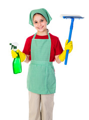 Happy girl with cleaning equipment