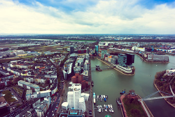 Wide angle picture of river Rhine, Duesseldorf.