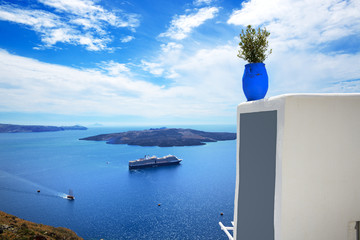 The view on Aegean sea and cruise ship, Santorini island, Greece