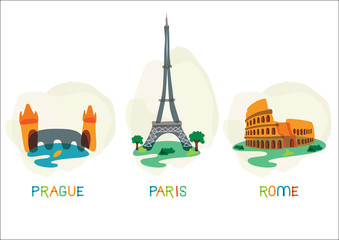 European capital symbols. Vector illustration