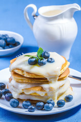 Pancakes with fresh blueberry
