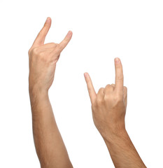 Two male hand signs. isolated on white background