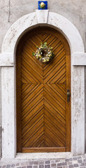 Old door. Antique wooden door