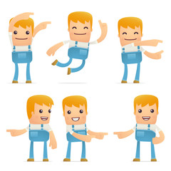 set of mechanic character in different poses