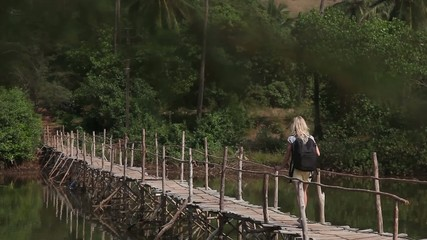 Girl on the old bridge
