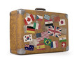 canvas print picture - Old Traveled Bag. Clipping path included.
