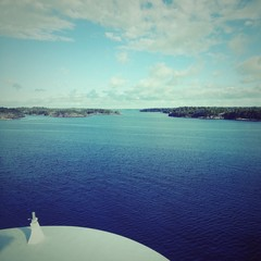 bow of cruise ship entering stockholm archipelago