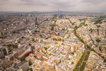 Buildings of Paris and Eiffel Tower aerial view
