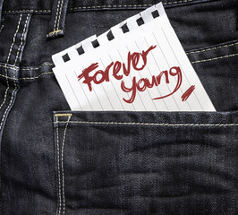 Forever Young written on a peace of paper