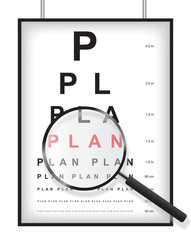 Clear plan in eyesight test concept