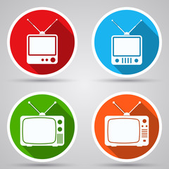 Retro TV sets vector icons