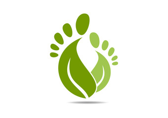 Natural foot logo leaf abstract podiatrist
