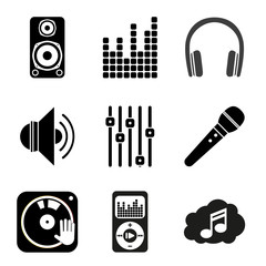 Set of icons of Music theme. Simple black style