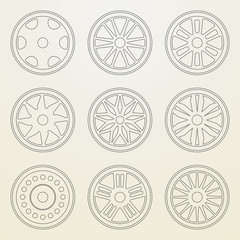 Set of icons of a car rims. Thin line style