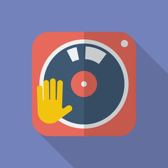 DJ turntable icon. Modern Flat style with a long shadow