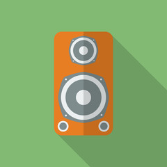 Speaker icon. Modern Flat style with a long shadow