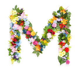 Letters made of leaves and flowers