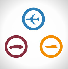 Vector Illustration Of Transportation Icons boat plane car stock
