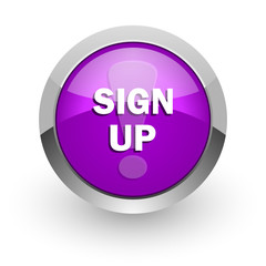 sign up pink glossy web icon