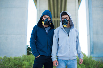 Men in gas masks