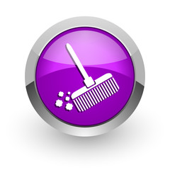 broom pink glossy web icon