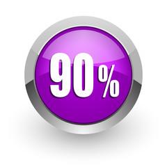 90 percent pink glossy web icon