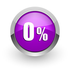 0 percent pink glossy web icon