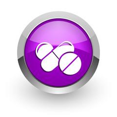 medicine pink glossy web icon