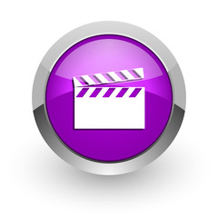 video pink glossy web icon