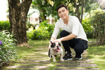 Handsome man with a dog