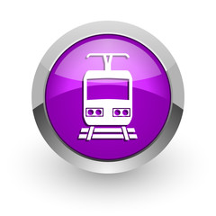 train pink glossy web icon