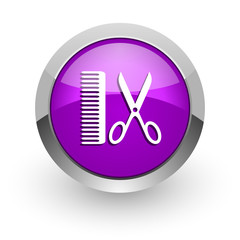 barber pink glossy web icon