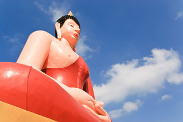 Buddhaimage and blue sky background.