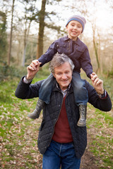 Grandfather Carrying Grandson On Shoulders During Walk