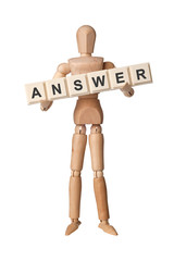 Wooden figurine with the word ANSWER isolated on white