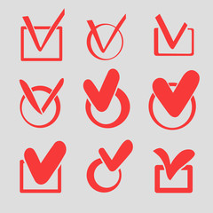 Set of nine different red vector, check marks or ticks in boxes