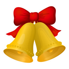 Golden Christmas bells with red bow