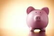 Pink porcelain piggy bank, concept of savings