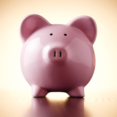 Pink porcelain piggy bank, concept of savings