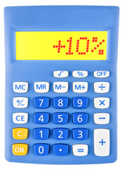 Calculator with +10% on display on white background